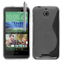 HTC Desire 510: Accessoire Housse Etui Pochette Coque S silicone gel + Stylet - TRANSPARENT