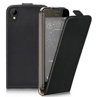 HTC Desire 825/ 825 Dual SIM: Accessoire Housse Coque Pochette Etui protection vrai cuir à rabat vertical - NOIR