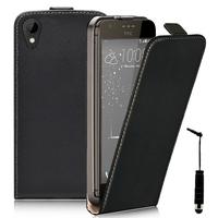 HTC Desire 825/ 825 Dual SIM: Accessoire Housse Coque Pochette Etui protection vrai cuir à rabat vertical + mini Stylet - NOIR