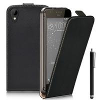 HTC Desire 825/ 825 Dual SIM: Accessoire Housse Coque Pochette Etui protection vrai cuir à rabat vertical + Stylet - NOIR