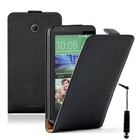 HTC Desire 510: Accessoire Housse coque etui cuir fine slim + mini Stylet - NOIR