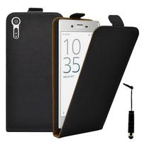 """Sony Xperia XZ 5.2""""/ Dual F8332: Accessoire Housse Coque Pochette Etui protection vrai cuir à rabat vertical + mini Stylet - NOIR"""