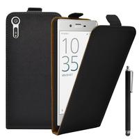 """Sony Xperia XZ 5.2""""/ Dual F8332: Accessoire Housse Coque Pochette Etui protection vrai cuir à rabat vertical + Stylet - NOIR"""