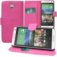 HTC Desire 610: Accessoire Etui portefeuille Livre Housse Coque Pochette support vidéo cuir PU - ROSE
