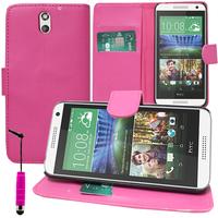HTC Desire 610: Accessoire Etui portefeuille Livre Housse Coque Pochette support vidéo cuir PU + mini Stylet - ROSE