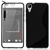 HTC Desire 825/ 825 Dual SIM: Accessoire Housse Etui Pochette Coque Silicone Gel motif S Line + mini Stylet - NOIR