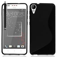 HTC Desire 825/ 825 Dual SIM: Accessoire Housse Etui Pochette Coque Silicone Gel motif S Line + Stylet - NOIR