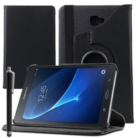 "Samsung Galaxy Tab A6 10.1"" SM-T580NZWAXEF/ T580NZKAXEF/ T585NZWAXEF: Accessoire Etui Housse Coque avec support Et Rotative Rotation 360° en cuir PU + Stylet - NOIR"