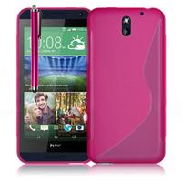 HTC Desire 610: Accessoire Housse Etui Pochette Coque S silicone gel + Stylet - ROSE