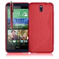 HTC Desire 610: Accessoire Housse Etui Pochette Coque S silicone gel + Stylet - ROUGE