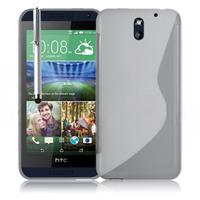 HTC Desire 610: Accessoire Housse Etui Pochette Coque S silicone gel + Stylet - TRANSPARENT