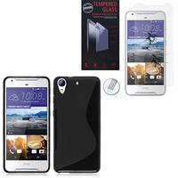 HTC Desire 628/ 628 dual sim: Coque Etui Housse Pochette Accessoires Silicone Gel motif S-Line - NOIR + 1 Film de protection d'écran Verre Trempé