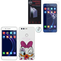 "Huawei Honor 8 5.2"" (non compatible Honor V8): Coque Housse silicone TPU Transparente Ultra-Fine Dessin animé jolie - Daisy Duck + 1 Film de protection d'écran Verre Trempé"