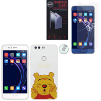 "Huawei Honor 8 5.2"" (non compatible Honor V8): Coque Housse silicone TPU Transparente Ultra-Fine Dessin animé jolie - Winnie the Pooh + 1 Film de protection d'écran Verre Trempé"
