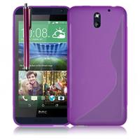 HTC Desire 610: Accessoire Housse Etui Pochette Coque S silicone gel + Stylet - VIOLET