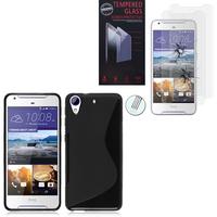 HTC Desire 628/ 628 dual sim: Coque Etui Housse Pochette Accessoires Silicone Gel motif S-Line - NOIR + 2 Films de protection d'écran Verre Trempé