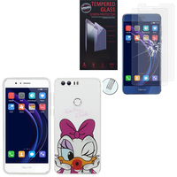 "Huawei Honor 8 5.2"" (non compatible Honor V8): Coque Housse silicone TPU Transparente Ultra-Fine Dessin animé jolie - Daisy Duck + 2 Films de protection d'écran Verre Trempé"