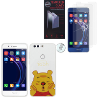 "Huawei Honor 8 5.2"" (non compatible Honor V8): Coque Housse silicone TPU Transparente Ultra-Fine Dessin animé jolie - Winnie the Pooh + 2 Films de protection d'écran Verre Trempé"