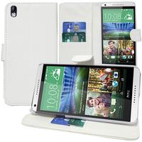 HTC Desire 816/ 816G Dual Sim: Accessoire Etui portefeuille Livre Housse Coque Pochette support vidéo cuir PU - BLANC