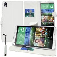 HTC Desire 816/ 816G Dual Sim: Accessoire Etui portefeuille Livre Housse Coque Pochette support vidéo cuir PU + mini Stylet - BLANC