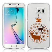 Samsung Galaxy S6 edge SM-G925/ S6 edge (CDMA)/ G925F/ G925T/ G9250/ G925A/ G925FQ/ G925L/ G925P/ G925R/ G925V: Coque Housse silicone TPU Transparente Ultra-Fine Dessin animé jolie - Cerf en couple