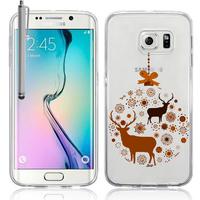 Samsung Galaxy S6 edge SM-G925/ S6 edge (CDMA)/ G925F/ G925T/ G9250/ G925A/ G925FQ/ G925L/ G925P: Coque Housse silicone TPU Transparente Ultra-Fine Dessin animé jolie + Stylet - Cerf en couple