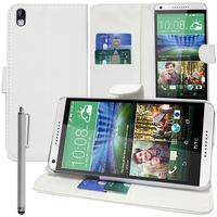HTC Desire 816/ 816G Dual Sim: Accessoire Etui portefeuille Livre Housse Coque Pochette support vidéo cuir PU + Stylet - BLANC