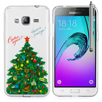 Samsung Galaxy J3 (2016) J320F/ Galaxy Amp Prime/ J320P/ J3109/ J320M/ J320Y/ Duos: Coque Housse silicone TPU Transparente Ultra-Fine Dessin animé jolie + Stylet - Xmas Arbre