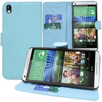 HTC Desire 816/ 816G Dual Sim: Accessoire Etui portefeuille Livre Housse Coque Pochette support vidéo cuir PU - BLEU