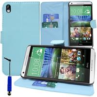 HTC Desire 816/ 816G Dual Sim: Accessoire Etui portefeuille Livre Housse Coque Pochette support vidéo cuir PU + mini Stylet - BLEU