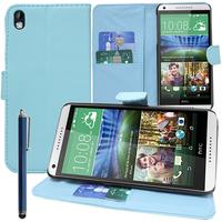 HTC Desire 816/ 816G Dual Sim: Accessoire Etui portefeuille Livre Housse Coque Pochette support vidéo cuir PU + Stylet - BLEU