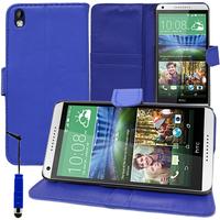 HTC Desire 816/ 816G Dual Sim: Accessoire Etui portefeuille Livre Housse Coque Pochette support vidéo cuir PU + mini Stylet - BLEU FONCE