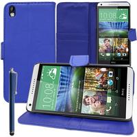 HTC Desire 816/ 816G Dual Sim: Accessoire Etui portefeuille Livre Housse Coque Pochette support vidéo cuir PU + Stylet - BLEU FONCE