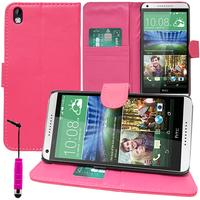 HTC Desire 816/ 816G Dual Sim: Accessoire Etui portefeuille Livre Housse Coque Pochette support vidéo cuir PU + mini Stylet - ROSE