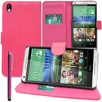 HTC Desire 816/ 816G Dual Sim: Accessoire Etui portefeuille Livre Housse Coque Pochette support vidéo cuir PU + Stylet - ROSE