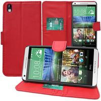 HTC Desire 816/ 816G Dual Sim: Accessoire Etui portefeuille Livre Housse Coque Pochette support vidéo cuir PU - ROUGE