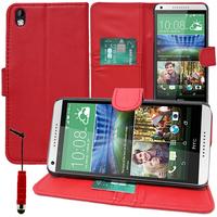 HTC Desire 816/ 816G Dual Sim: Accessoire Etui portefeuille Livre Housse Coque Pochette support vidéo cuir PU + mini Stylet - ROUGE