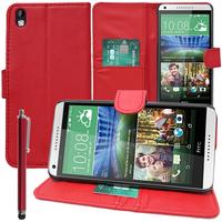 HTC Desire 816/ 816G Dual Sim: Accessoire Etui portefeuille Livre Housse Coque Pochette support vidéo cuir PU + Stylet - ROUGE