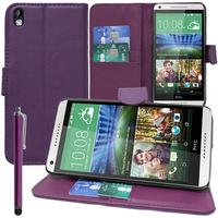 HTC Desire 816/ 816G Dual Sim: Accessoire Etui portefeuille Livre Housse Coque Pochette support vidéo cuir PU + Stylet - VIOLET