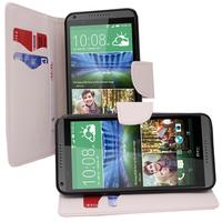 HTC Desire 816/ 816G Dual Sim: Accessoire Etui portefeuille Livre Housse Coque Pochette support vidéo cuir PU effet tissu - BLANC