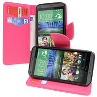 HTC Desire 816/ 816G Dual Sim: Accessoire Etui portefeuille Livre Housse Coque Pochette support vidéo cuir PU effet tissu - ROSE