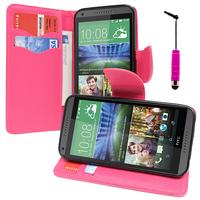HTC Desire 816/ 816G Dual Sim: Accessoire Etui portefeuille Livre Housse Coque Pochette support vidéo cuir PU effet tissu + mini Stylet - ROSE