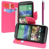 HTC Desire 816/ 816G Dual Sim: Accessoire Etui portefeuille Livre Housse Coque Pochette support vidéo cuir PU effet tissu + Stylet - ROSE