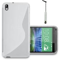 HTC Desire 816/ 816G Dual Sim: Accessoire Housse Etui Pochette Coque S silicone gel + mini Stylet - BLANC