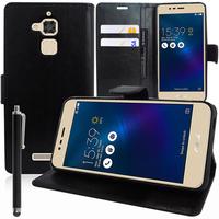 """Asus Zenfone 3 Max ZC520TL 5.2"""": Accessoire Etui portefeuille Livre Housse Coque Pochette support vidéo cuir PU + Stylet - NOIR"""