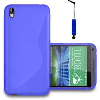 HTC Desire 816/ 816G Dual Sim: Accessoire Housse Etui Pochette Coque S silicone gel + mini Stylet - BLEU