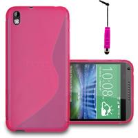 HTC Desire 816/ 816G Dual Sim: Accessoire Housse Etui Pochette Coque S silicone gel + mini Stylet - ROSE