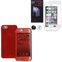 Apple iPhone 5/ 5S/ SE: Coque Etui Housse Pochette silicone gel Portfeuille Livre rabat - ROUGE + 1 Film de protection d'écran Verre Trempé