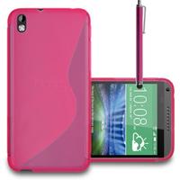 HTC Desire 816/ 816G Dual Sim: Accessoire Housse Etui Pochette Coque S silicone gel + Stylet - ROSE