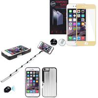 Apple iPhone 6/ 6s: Coque de protection avec Selfie Baton - NOIR + 1 Film de protection d'écran Verre Trempé